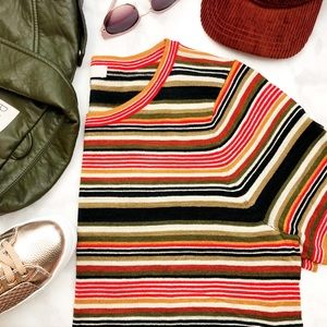 Striped Short Sleeve Sweater in Autumn Tones